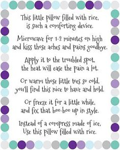Make rice bag warmers as a gift, how to on here, then print this out and attach. - Find creative craft tutorials, simple recipes, printables and more at Artsy-Fartsy Mama Easy Gifts, Homemade Gifts, Fun Gifts, Diy Rice Bags, Homemade Heating Pad, Sewing Crafts, Sewing Projects, Sewing Ideas, Sewing Tips