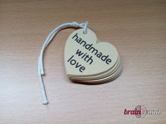 Heart shaped kraft tags Handmade with Love tags by BrainBound