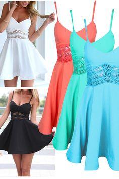 White&Black&Orange&Green&Blue Spaghetti Strap Lace Waist Skater Dress,i really want them for party! Grad Dresses, Homecoming Dresses, Cute Dresses, Beautiful Dresses, Casual Dresses, Short Dresses, Summer Dresses, Women's Fashion Dresses, Dress Outfits