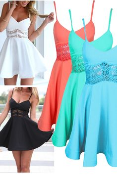 White&Black&Orange&Green&Blue Spaghetti Strap Lace Waist Skater Dress,i really want them for party!