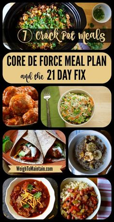 The Ultimate Beginners Guide to Clean Eating! 7 delicious and healthy crock pot recipes for Beachbody's new Core de Force workout program. These yummy slow cooker recipes also work for the 21 Day Fix and other Beachbody programs. Healthy Crockpot Recipes, Slow Cooker Recipes, Fixate Recipes, Crockpot Meals, Crockpot Dishes, Healthy Dinners, Easy Dinners, Freezer Meals, Healthy Snacks