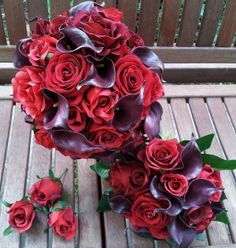 Bridal bouquets : Blood red roses & Plum calla lilys