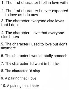1. Percy Jackson 2. Draco Malfoy 3. Eh, I had a brain fart 4. Ethan Nakamura  5. Gale 6. Minho and Hiro and Nico and urge too much 7. Annabeth Chase 8. Umbridge and Octavian 9. Percabeth and SO MUCH MORE 10. IDK, I RLY DK