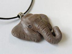 Polymer Clay Elephant Pendant