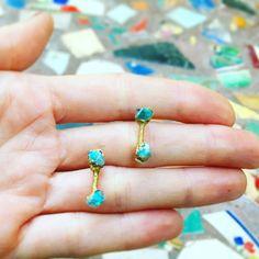 Turquoise Stud Earrings Raw Turquoise Earrings Boho