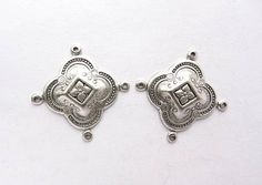 2 Moroccan Style Antique Silver Connectors by TreeChild1 on Etsy, $3.85
