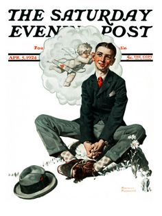 """""""Cupid's Visit"""" Saturday Evening Post Cover, April 5,1924  Norman Rockwell"""