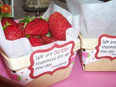 """teacher appreciation- """"We are BERRY thankful for all you do."""" teacher appreciation- We are BERRY thankful for all you do. Appreciation Message, Employee Appreciation Gifts, Volunteer Appreciation, Teacher Appreciation Week, Teacher Gifts, Daycare Gifts, Teacher Stuff, Teacher Awards, Volunteer Gifts"""