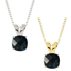 10k Gold Checkerboard Cushion London Blue Topaz Solitaire Pendant Necklace