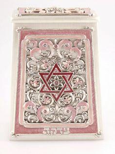 Pink & Silver Hand Enameled Star of David Tzedakah Box by Quest