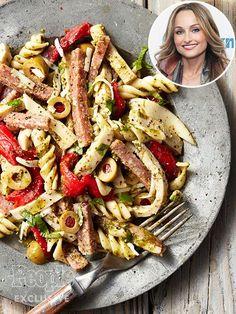Giada De Laurentiis' Italian Antipasto Salad 1 lb. fusilli pasta 1 bunch fresh basil, stems removed, chopped ¼ cup red wine vinegar 1 garlic clove 1 tsp. Dijon mustard 1 tsp. black pepper, divided …