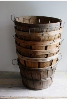 love these old bushel baskets, handy for anything around the house to store in, or out in your garden to use!