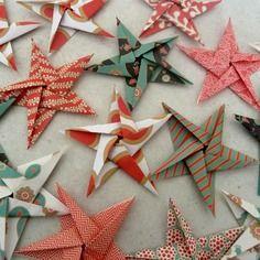15 stickers étoiles en origami pour décoration murale chambre bébé fille garçon enfant - rouge, or, vert, noir