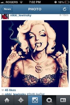 Marilyn Monroe tattoos smoking
