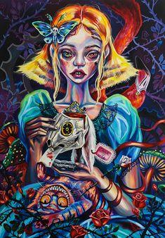 Don't waste my time print Alice in wonderland Alice in Alice In Wonderland Paintings, Dark Alice In Wonderland, Creepy Art, Weird Art, Arte Lowbrow, Psychadelic Art, Wonderland Tattoo, Psy Art, Hippie Art