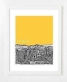 Phoenix Arizona Skyline Poster  Phoenix Art by BugsyAndSprite, $20.00