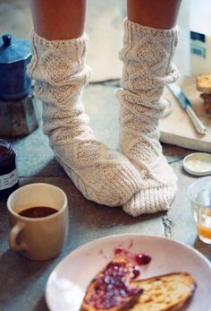 """If I'm not mistaken, these are, in the words of Ted Mosby """"English morning socks."""" This picture encompasses, in eery detail, my perfect morning."""