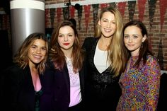 #BlakeLively reunited with her #SisterhoodOfTheTravelingPants co-stars #AlexisBledel, #AmberTamblyn, and #AmericaFerrera at #PaintitBlack NYC premiere last night!