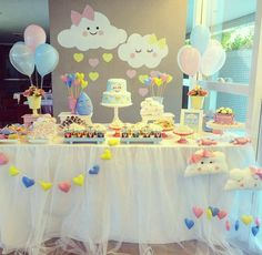 Baby Shower Decorations 345299496430286241 - Baby Shower Ides Decoracion Nubes Ideas For 2019 Source by lizzyvaley Cloud Baby Shower Theme, Idee Baby Shower, Fiesta Baby Shower, Shower Bebe, Girl Shower, Baby Shower Favors, Baby Shower Parties, Baby Shower Themes, Shower Ideas
