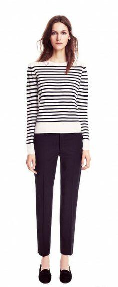 Filippa K. Merino Stripe Pullover and cropped wool slacks. Ivory and navy.