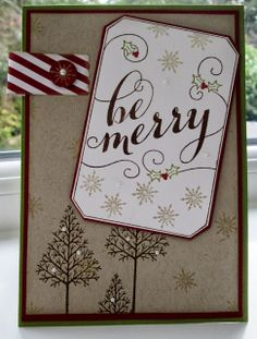 "Stampin' Up UK Demonstrator Sarah-Jane Rae Cards and a Cuppa blog: 3rd ""Be Merry"" Card with Warmth and Wonder by Stampin' Up!"