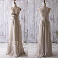 2016 Cream/Beige Bridesmaid Dress Long, Ruched V Neck Wedding Dress, Lace Back Prom Dress, Maxi Dress, Chiffon Evening Dress Floor (L092A) by RenzRags on Etsy https://www.etsy.com/listing/275118822/2016-creambeige-bridesmaid-dress-long