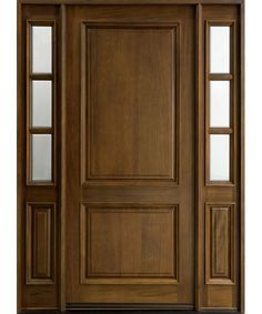 Classic Series Mahogany Solid Wood Front Entry Door - Single with 2 Sidelites - DB-301W 2SL