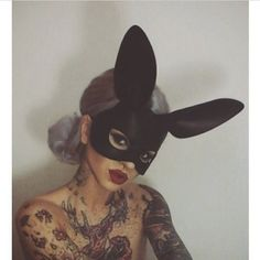 bunny ears; tattoos; grey hair; white hair