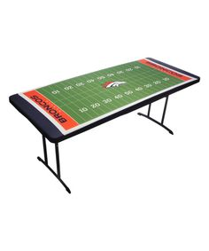 The NFL TableTopit Football Field Table Cover elasticized table cloth is a great way for dressing up any folding table on game day. Features your favorite team& logo and colors, and easily attaches without the need for weights, tape, clips, or hassle. Denver Broncos Football, Football Field, Football Season, Nfl Baltimore Ravens, Nfl New England Patriots, Nfl Shop, New York Jets, New Orleans Saints, Oakland Raiders