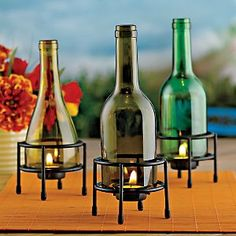 Recycled Wine Bottle Tealight Holder (Set of 3)