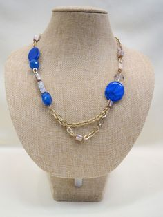 ADO | Blue Bead Gold Chain Necklace Short