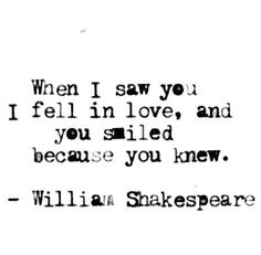When I saw you...you knew