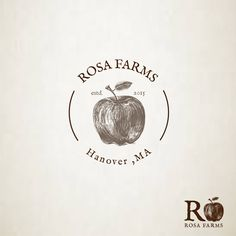 Rosa Farms is a Farmers Market, specialized in fresh produce at the lowest price.  The graphic is a hand-sketched apple in order to confer the natural, organic and warm feel to the logo.  The font is an old typewriter looking one, also for suggesting an old-school, traditional type of business.