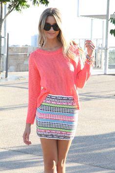 woven neon skirt