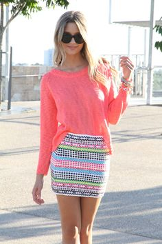 woven neon skirt and bright pink shirt