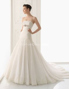 Mermaid Organza pleated Waist zipper back Wedding Dress - gopromdres.com