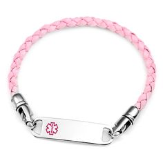 Pink Braided Leather Medical Id Bracelet Diabetic Bracelets Living