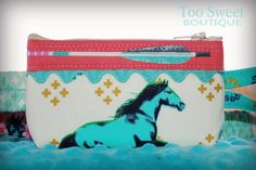 Mustang Pouch- For all the little horse lovers! How fun is this fabric?