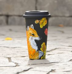 Acorns and Oak leaves Black Ceramic Travel Mug - Hand Painted Fox and Butterfly Eco cup - Porcelain Mug with Lid - Insulated Tumbler by PictureInADream on Etsy