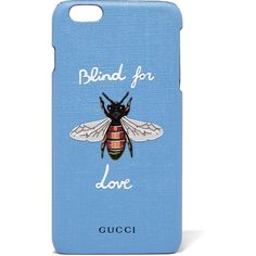 Gucci Blind for Love printed coated-canvas iPhone 6 Plus case (€195) ❤ liked on Polyvore featuring accessories, tech accessories, light blue and gucci
