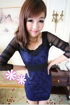 Wholesale Sweet & Beautiful Long Sleeve Yarn Spliced High Waist Full Coverage Dress----Blue top dresses