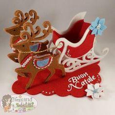 @fustellati @Sizzix Big Shot @renna @slitta @feltro e pannolenci Christmas Fabric Crafts, Easy Christmas Ornaments, Simple Christmas Cards, Christmas Applique, Christmas Toys, Xmas Crafts, Diy Christmas Gifts, Diy And Crafts, Christmas Decorations