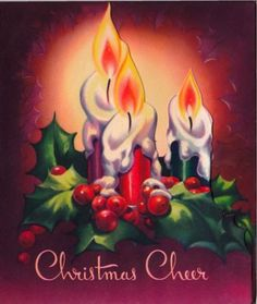 Vintage 1950s Embossed Christmas Card Lit Candles with Christmas ...