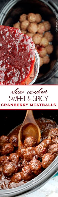 Sweet and Spicy Cranberry Meatballs (Slow Cooker) | perfect party meatball for Christmas Eve or New Years Eve or any Eve that everyone will love and so easy, moist and seeping with flavor from the slow cooker and INCREDIBLE sauce!