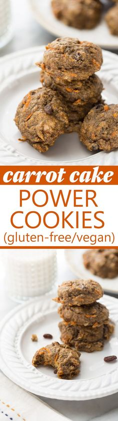 Carrot Cake Power Cookies! Healthy, gluten-free and vegan breakfast cookies that are full of superfoods. Delicious and kid-friendly!