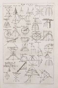 Table of Conics, Cyclopaedia, volume p 1728 - Conic section - Wikipedia Mathematics Geometry, Physics And Mathematics, Geometry Art, Sacred Geometry, Conic Section, Physics Formulas, Precalculus, Love Math, Math Classroom