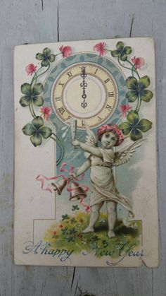 Check out this item in my Etsy shop https://www.etsy.com/listing/199885436/antique-new-year-cherub-clock-postcard