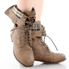 Brown Combat Hiking Motorcycle Lace Up Plaid Cuff Womens Flat Ankle Boots 7