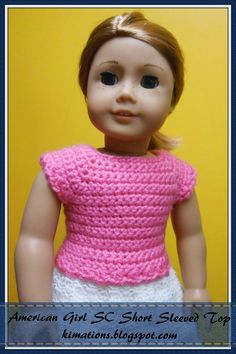 The free crochet pattern for an American Girl Short sleeve top is made available to you courtesy of Kimations. Nanci's Note:  Are you teaching a child who is an AG doll lover to crochet?  This is a wonderful way to help her move on to the next step of reading a pattern.  Foundation chain and single crochet are the only two stitches used.  Very Simple Pattern.