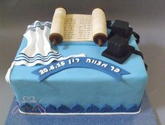 Classic Bar Mitzvah cake with Tefillin, Tallit and Torah scroll